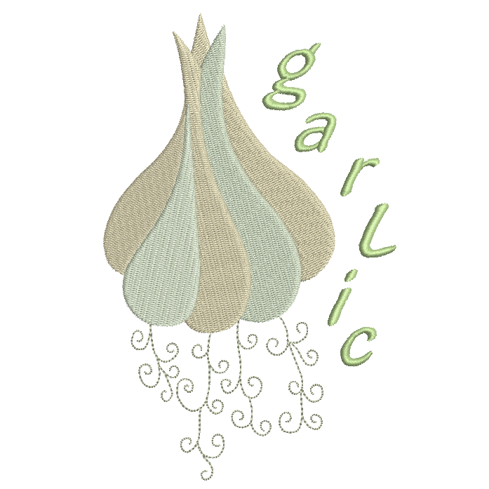 Garlic knob machine embroidery design by rosiedayembroidery.com