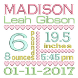 Baby Birth Announcement -Custom Embroidery Design by rosiedayembroidery.com