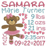 Baby birth announcement template machine embroidery design by rosiedayembroidery.com