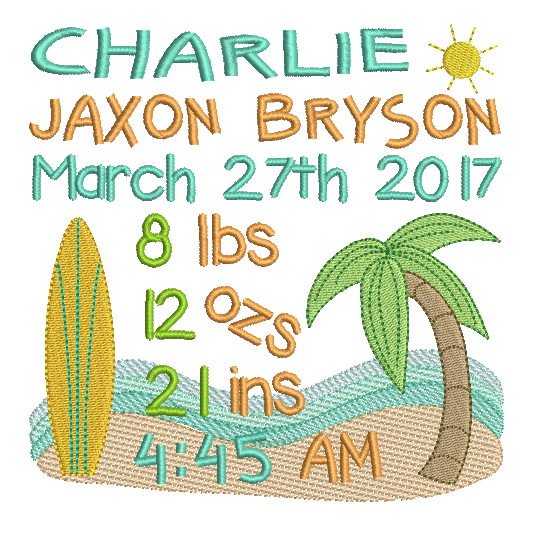 Baby Birth Announcement -Custom Embroidery Design by embroiderytree.com