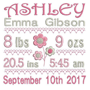 Baby birth stats template machine embroidery design by rosiedayembroidery.com