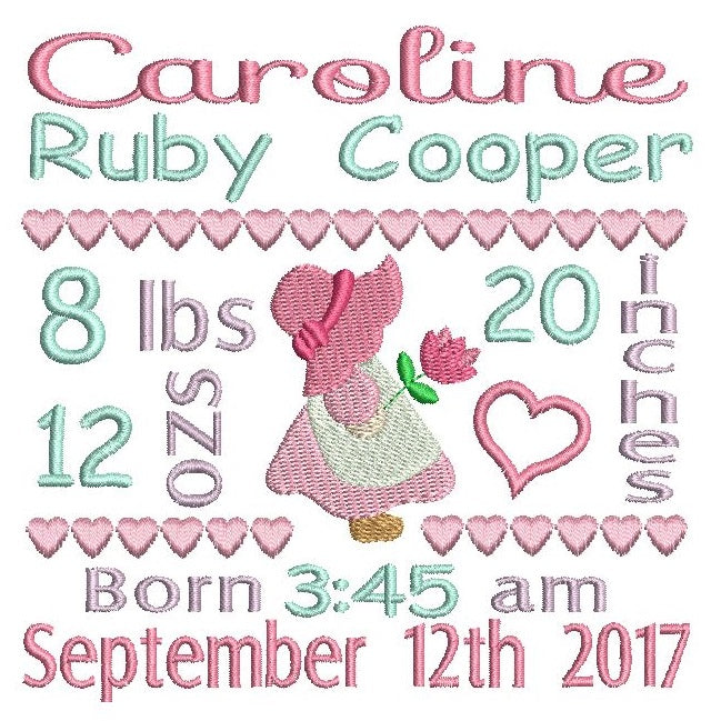 baby announcement template embroidery design rosieday embroidery