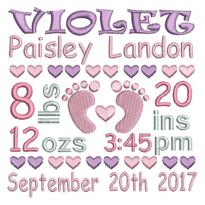 baby birth stats announcement template design rosieday embroidery
