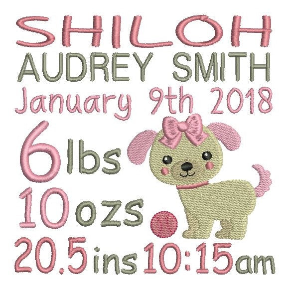 Baby girl birth announcement -custom embroidery design by rosiedayembroidery.com