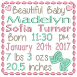 Baby Birth Announcement - Customised (S509-9)