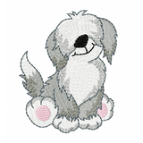 Old English sheepdog machine embroidery design by rosiedayembroidery.com