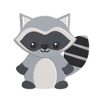 Mini fill stitch raccoon machine embroidery design by rosiedayembroidery.com