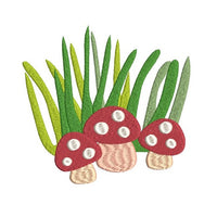 Mini fill stitch mushrooms machine embroidery design by rosiedayembroidery.com