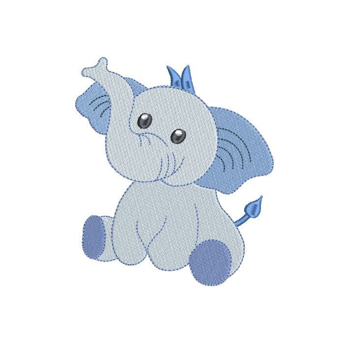 Mini baby elephant machine embroidery design by rosiedayembroidery.com