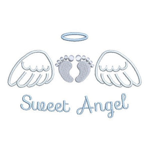 Angel wings with baby feet machine embroidery design by rosiedayembroidery.com