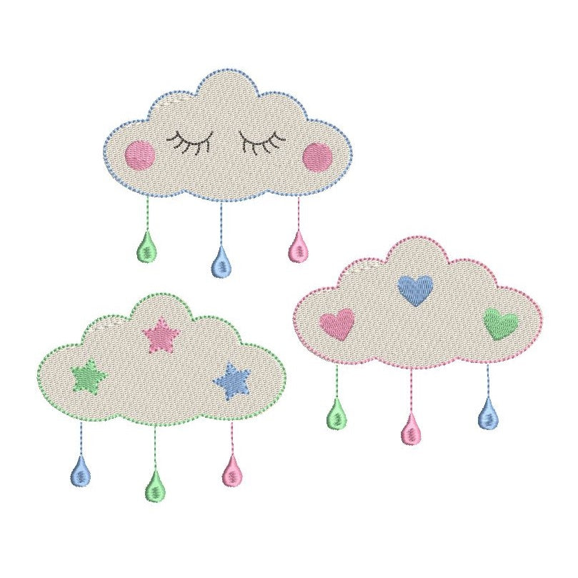 Baby clouds machine embroidery design by rosiedayembroidery.com