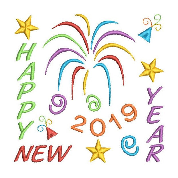 Happy New Year 2019 embroidery design by rosiedayembroidery.com