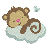 Baby monkey machine embroidery design by rosiedayembroidery.com