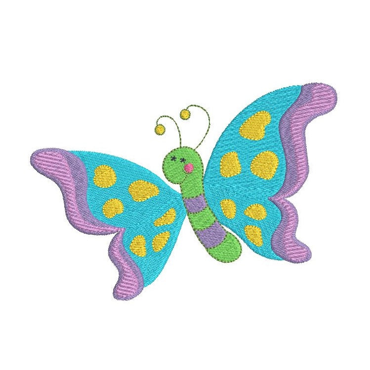 Beautiful butterfly machine embroidery design by rosiedayembroidery.com