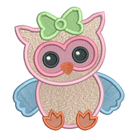 Baby girl owl fill stitch machine embroidery design by rosiedayembroidery.com