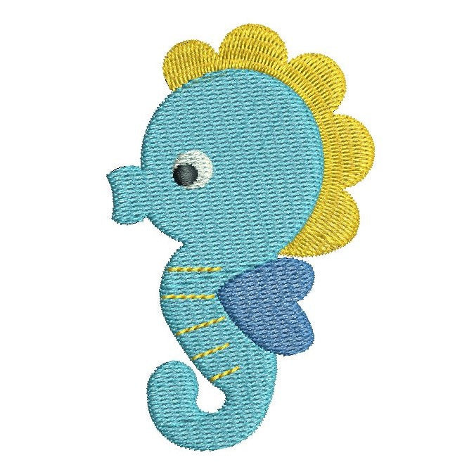 Seahorse fill stitch machine embroidery design by rosiedayembroidery.com