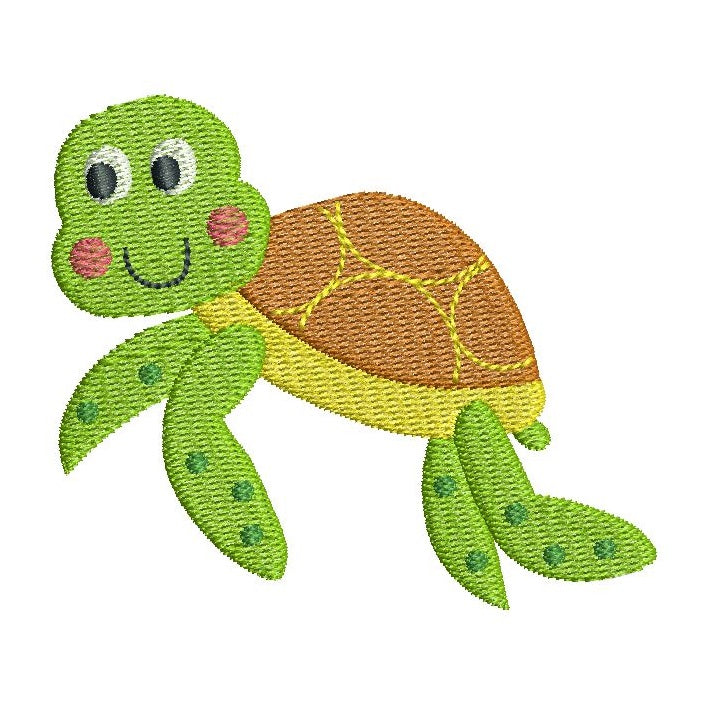 Baby turtle machine embroidery design by rosiedayembroidery.com