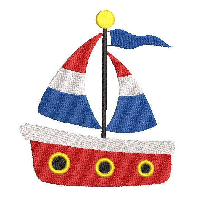 Sailboat machine embroidery design by rosiedayembroidery.com