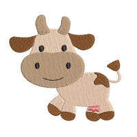 Mini fill stitch cow machine embroidery design by rosiedayembroidery.com