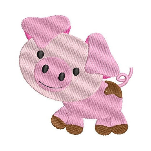 Cute mini pig machine embroidery design by rosiedayembroidery.com