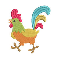 Mini fill stitch rooster machine embroidery design by rosiedayembroidery.com