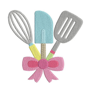 Kitchen utensils machine embroidery design by rosiedayembroidery.com
