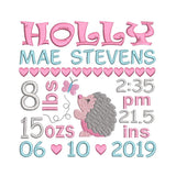 Baby birth announcement by rosiedayembroidery.com