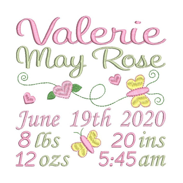 Baby birth announcement machine embroidery design by rosiedayembroidery.com