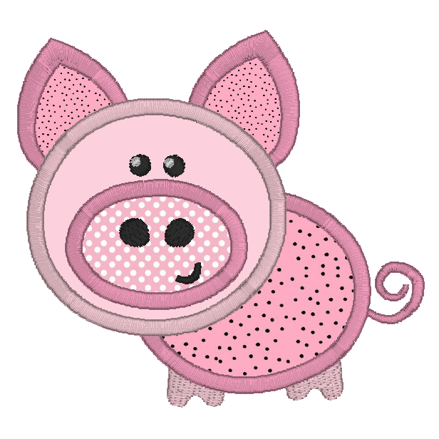 Pink pig applique machine embroidery design by rosiedayembroidery.com