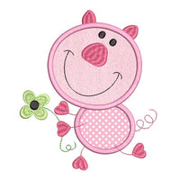 Happy pig applique machine embroidery design by rosiedayembroidery.com