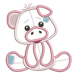 Sweet piglet applique machine embroidery design by rosiedayembroidery.com