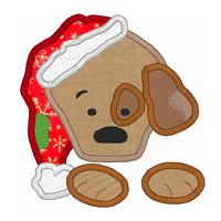 Christmas puppy applique machine embroidery design by rosiedayembroidery.com