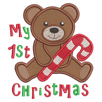Christmas teddy applique machine embroidery design by rosiedayembroidery.com