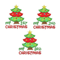 Christmas tree applique machine embroidery designs by rosiedayembroidery.com