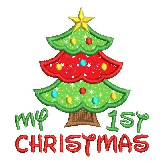 My 1st Christmas applique machine embroidery design by rosiedayembroidery.com