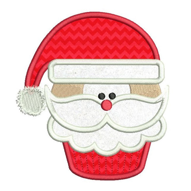 Christmas Santa cupcake applique machine embroidery design by rosiedayembroidery.com