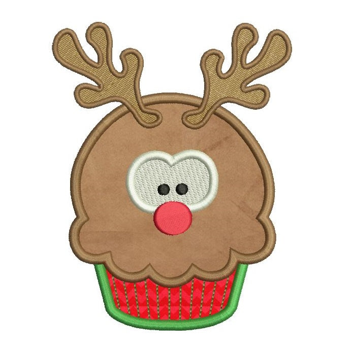 Christmas reindeer cupcake applique machine embroidery design by rosiedayembroidery.com