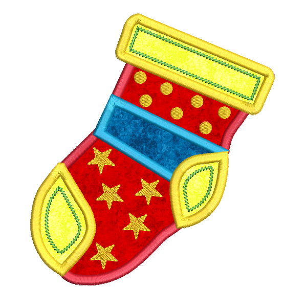Christmas stocking applique machine embroidery design by rosiedayembroidery.com