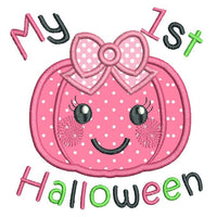My 1st Halloween pumpkin applique machine embroidery design by rosiedayembroidery.com