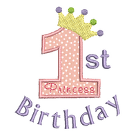 Girl's 1st birthday applique machine embroidery design by rosiedayembroidery.com