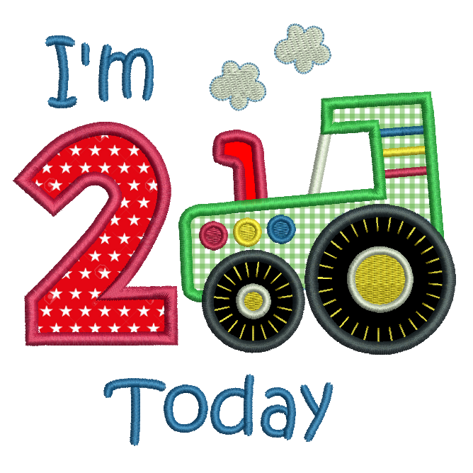 Boy's 2nd Birthday tractor applique embroidery by rosiedayembroidery.com