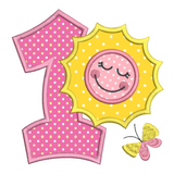 1st birthday number with sun applique machine embroidery design by rosiedayembroidery.com