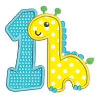 1st birthday giraffe machine embroidery design by rosiedayembroidery.com