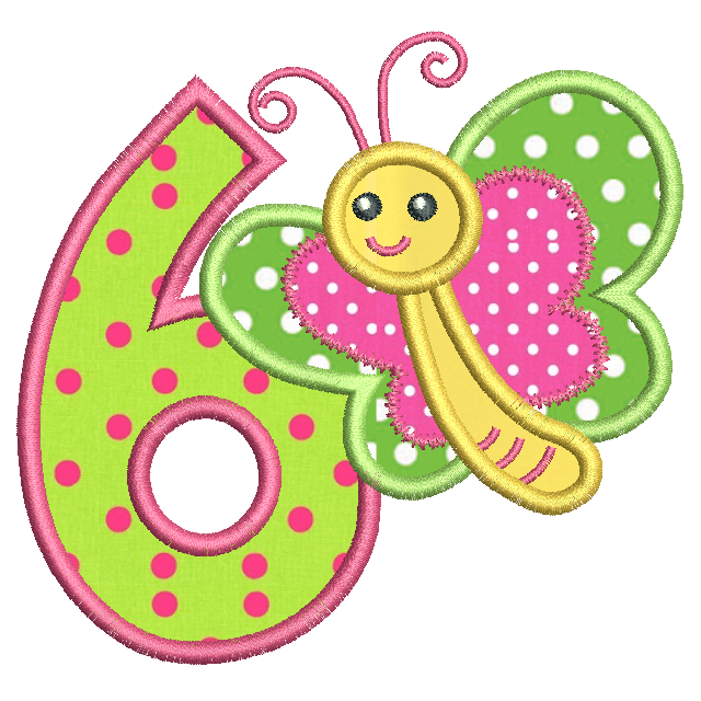 Girl's 6th birthday applique machine embroidery design by rosiedayembroidery.com