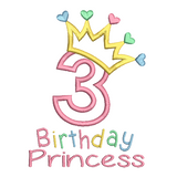 3rd birthday princess crown applique machine embroidery design by rosiedayembroidery.com