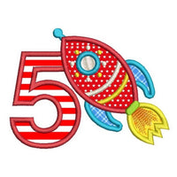 Boy's 5th birthday rocketship applique machine embroidery design by rosiedayembroidery.com
