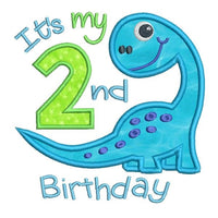 2nd birthday dinosaur applique machine embroidery design by rosiedayembroidery.com