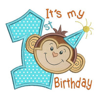 1st birthday number with a cute little monkey face applique machine embroidery design by rosiedayembroidery.com