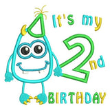 2nd birthday monster applique machine embroidery design by rosiedayembroidery.com