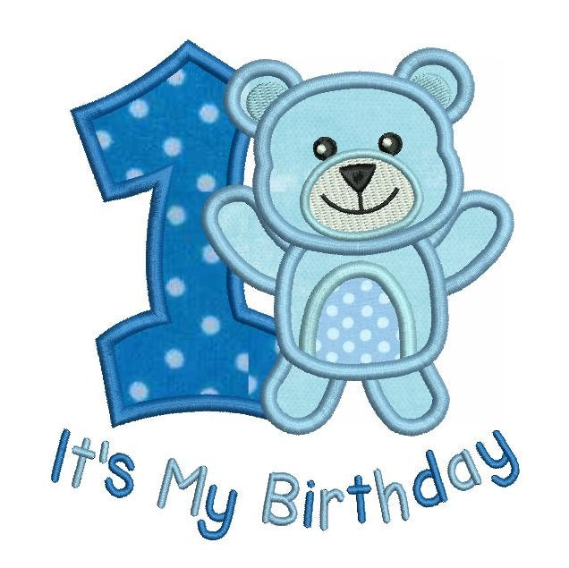 1st birthday teddy bear applique machine embroidery design by rosiedayembroidery.com